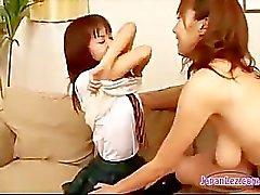 lésbica menina japão asiático fricção