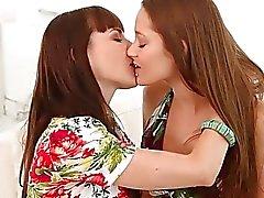 brunette facesitting girl on girl kissing lesbian