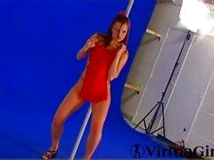 brunette caucasian high heels lingerie shaved