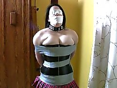 bdsm tape-bondage gagged blindfold