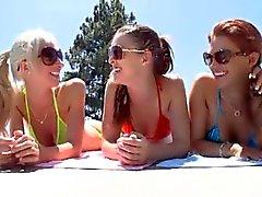lezbiyenler gençler üçlü