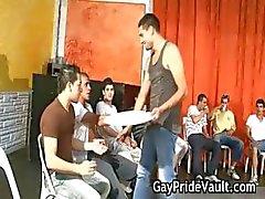 Indoor gay gangbang fuck fest