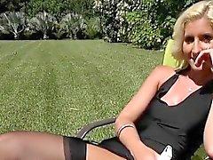 blonde lingerie milf