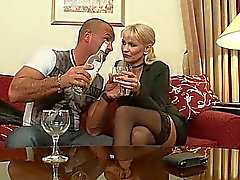Muscled dude licking hot 50yo blonde pussy