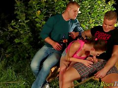 bisexual group threesome blowjob