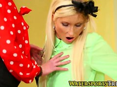 blonde brunette lesbian lick threesome