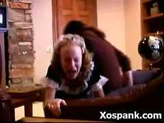 brunette milf nylon spanking uniform