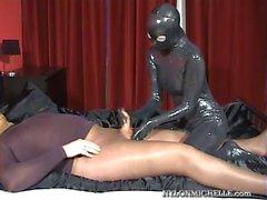 bdsm latex pantyhose slave