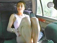 car public brunette skinny strip