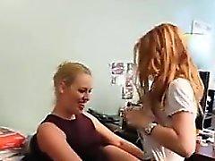 blonde fingering lesbian lick panties