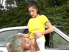 blowjob brunette cumshot facial old young