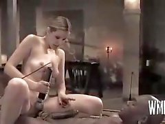 blonde domination handjob threesome fetish