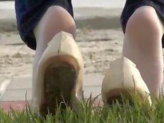 punto - of- visualizzazione piedi suole nylon calze
