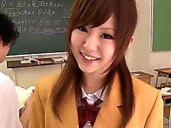 Japanese schoolgirl cocksucks before cumshot