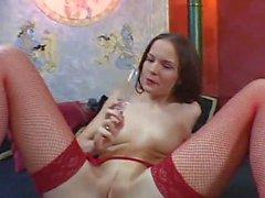 carol fonda brunette point-of-view lingerie stockings