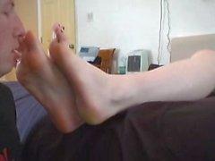 kink foot-slave foot-worship sneakers barefeet