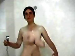 amateur big boobs brunette shower