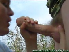 suck swallow mikitary stranger outdoors