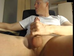 dad jerking his cock at the office