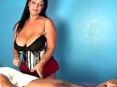 big boobs brunette handjob massage mature