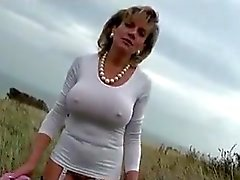 outdoor flashing big boobs milfs
