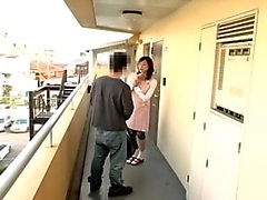 Naughty Japanese babe sucks a hard cock and gets pounded do