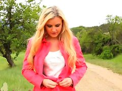 babe blonde outdoor nylon