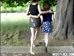 Two sluts masturbate in public, on the street, park in France!