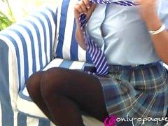 teasing kink pantyhose school-uniform public