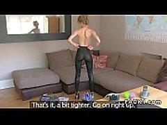 British blonde in tights in casting