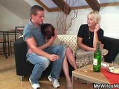 blonde blowjob brunette european