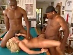 interracial creampie blonde threesome