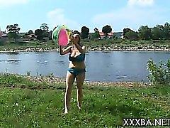 beach big boobs brunette