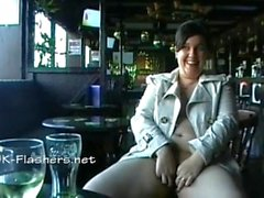 Amateur bbw Kinx upskirt masturbation in a bar and outdoor public nudity