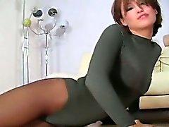 brunette fetish masturbation nylon stockings